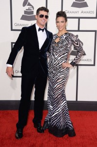 Robin Thicke & Paula Patton At the 56th Annual Grammy Awards